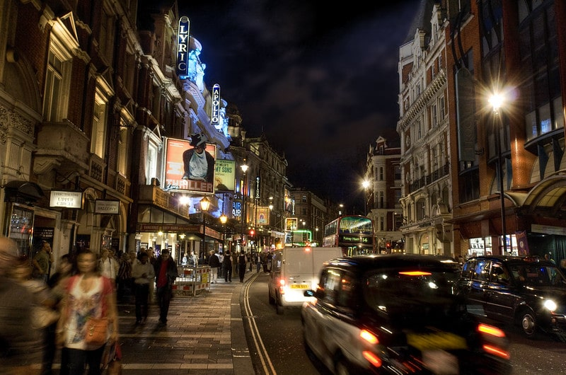 The west end at night. Catching a theatre show here is one of the best things to do in London.