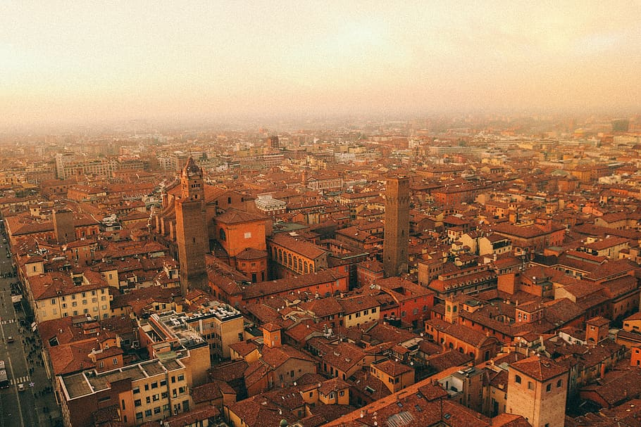 The dense city of Bologna in Italy. A must-visit for your Europe Bucket List.