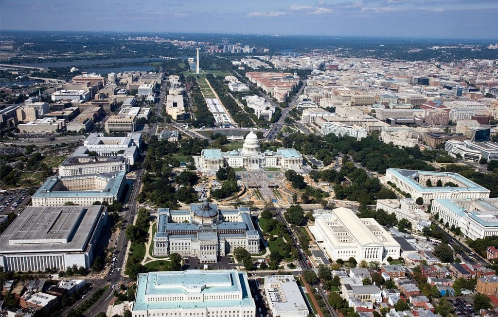 An aerial view of Washington DC.