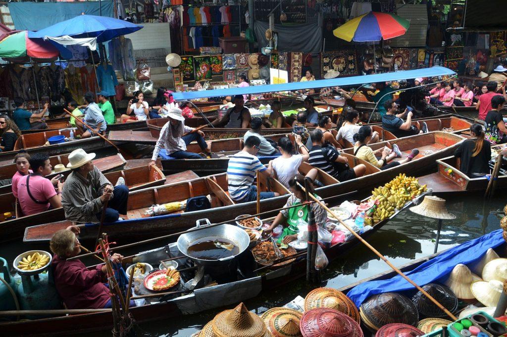 Floating Markets in Bangkok, Thailand.